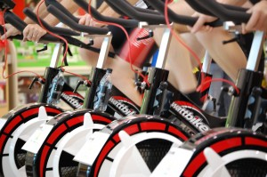 Line up of Wattbikes